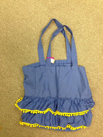 #CBAG006 - RUFFLE TOTE-MAIZE & BLUE  -  48/CASE