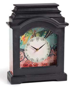"#D100218 - GREEN BUTTERFLY DESK CLOCK 11.5""W x 14.5""H  -  3/CASE"