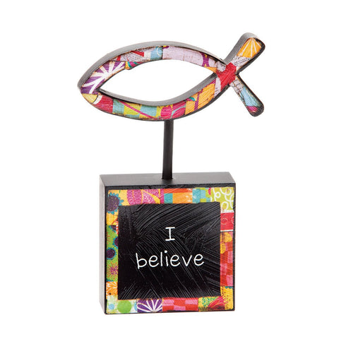 "#D1002810004 - 5""H I BELIEVE SCULPTURE COLORFUL DEVOTIONS  -  36/CASE"