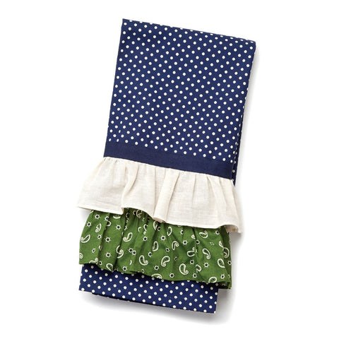#D1003250008 - NAVY WITH CREAM DOT TEA TOWEL  -  96/CASE