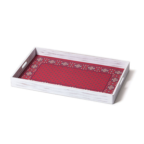 "#D1003250017 - 21X13.5""SERVING TRAY-BANDANA PRINT RED  -  6/CASE"