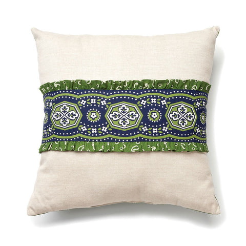 "#D1003250064 - 16""NATURAL PILLOW W/NAVY BANDANA TRIM  -  24/CASE"