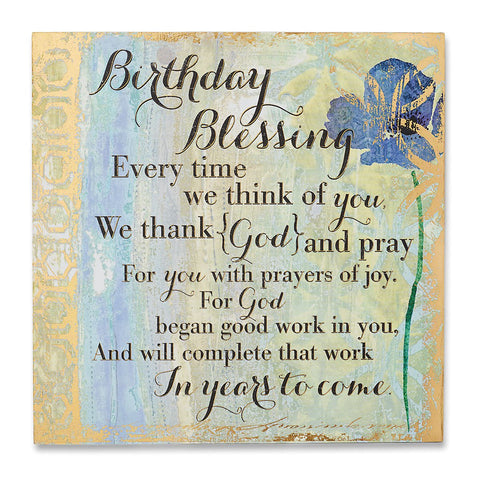 "#D1003260028 - 8""SQ.BIRTHDAY BLESSING PLAQUE  -  12/CASE"