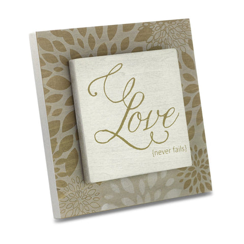 "#D1003490027 - 6""SQ. PLAQUE-LOVE NEVER FAILS  -  24/CASE"