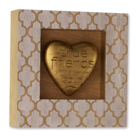 "#D1003490038 - 8""SQ.HEART SHADOW BOX PLAQUE TRUE FRIENDS  -  12/CASE"