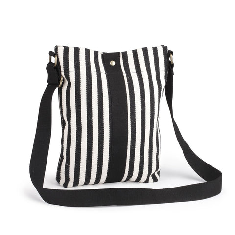 "#D1003600017 - B/W STRIPED CROSS BODY BAG- 14""X11""H BE BOLD  -  50/CASE"