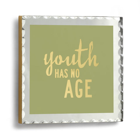 "#D1003700008 - 6.5""SQ.MIRRORED PLAQUE-YOUTH HAS NO AGE  -  20/CASE"