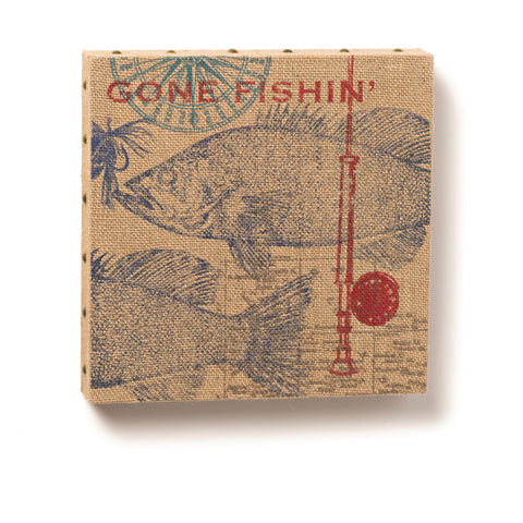 "#D1003720020 - 12""SQ.GONE FISHING WALL ART BURLAP  -  12/CASE"