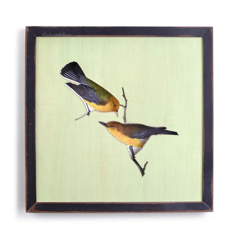 "#D1003770001 - 13""SQ/BIRDS ON BRANCH FRAMED WOOD SHADOW BOX  -  12/CASE"