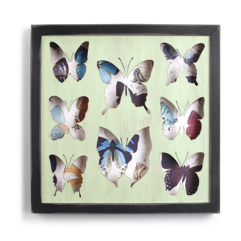 "#D1003770005 - 13""SQ.BUTTERFLY WOOD FRAMED SHADOW BOX  -  12/CASE"