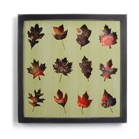 "#D1003770007 - 13""SQ,WOOD FRAMED LEAF SHADOW BOX  -  12/CASE"