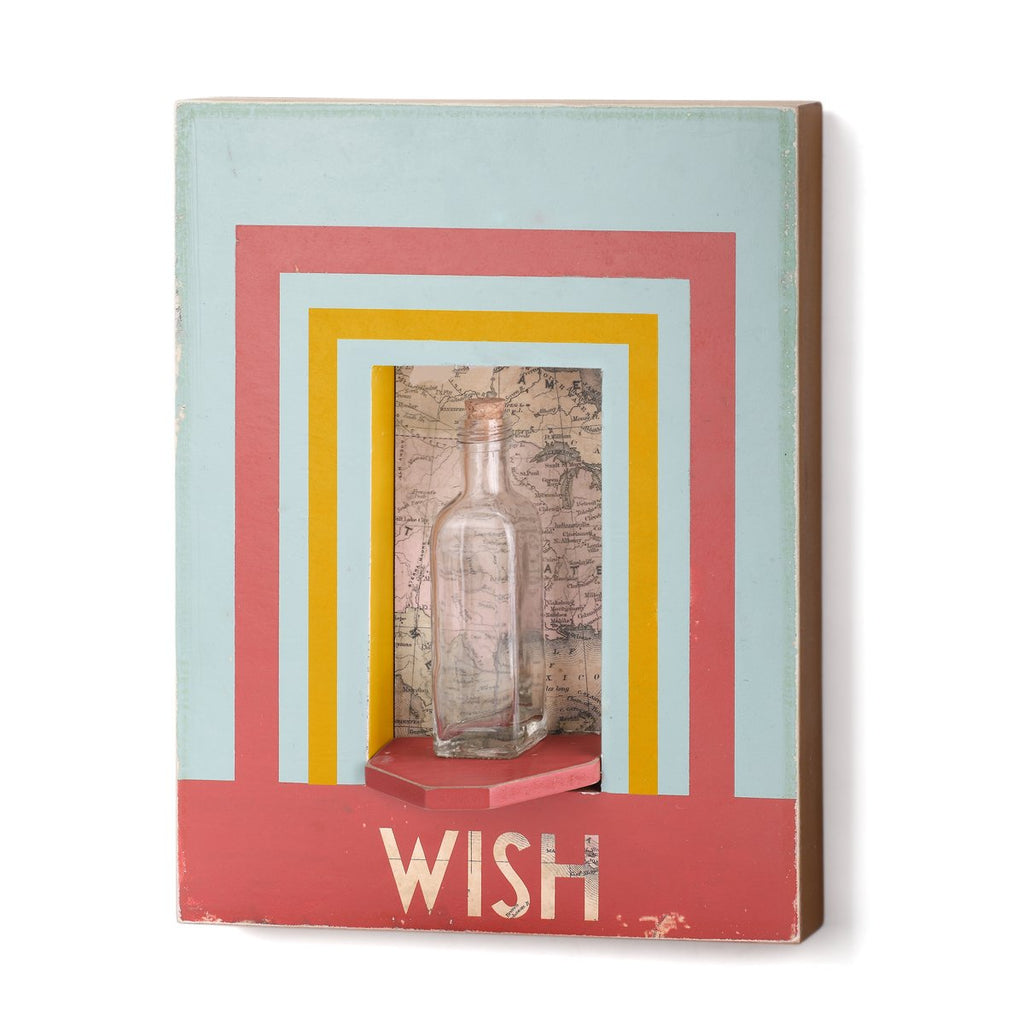 "#D1003770017 - 11""X 14""H WALL ART-WISH WITH BOTTLE  -  6/CASE"