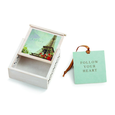 "#D1003920028 - 3.5""SQ.ESCAPE SACHET BOX- FOLLOW YOUR HEART  -  96/CASE"