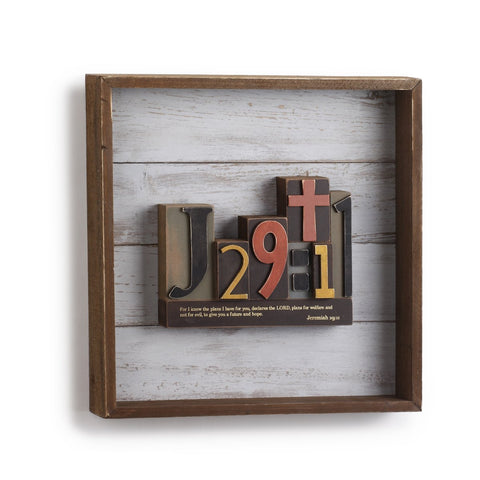"#D1003940005 - 12""SQ.WALL ART-JEREMIAH 29:11  -  6/CASE"