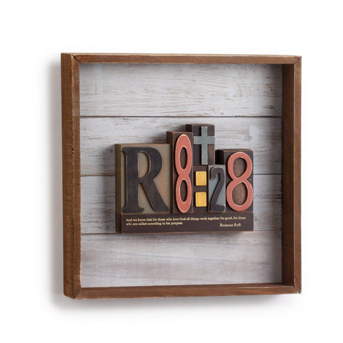 "#D1003940006 - 12""SQ.WALL ART-ROMANS 8:28  -  6/CASE"