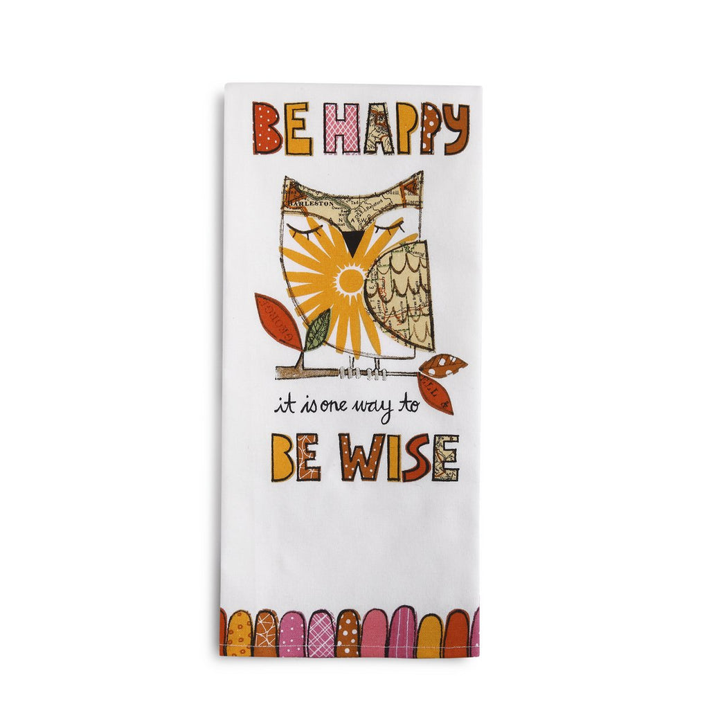 #D1004070053 - BE HAPPY TEA TOWEL & GREETING CARD S/2 GIFT SET  -  96/CASE