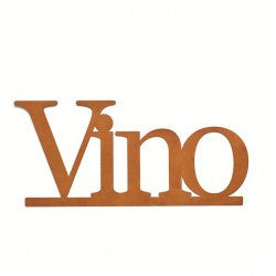"#D100828 - 19.5X9"" RUSTIC WALL WORD-VINO  -  12/CASE"