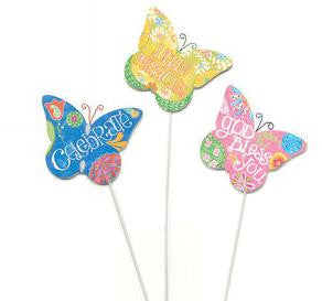 "#D101092 - S/3 16""H BUTTERFLY STAKES  -  24/CASE"
