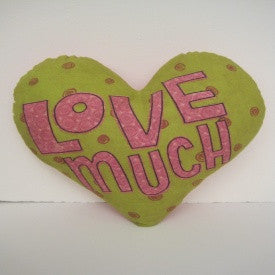 "#D101191 - 17""LOVE MUCH HEART PILLOW  -  24/CASE"