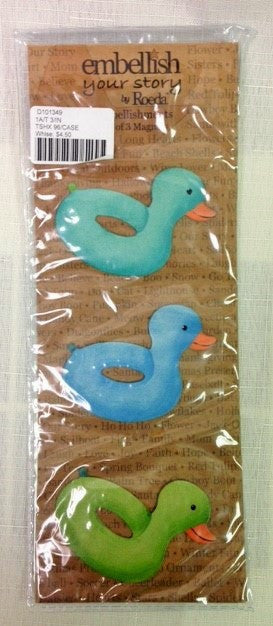 #D101349 - S/3 DUCK SWIMMING TUBE MAGNETS  -  96/CASE
