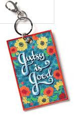 "#D102135 - 4"" GUTSY IS GOOD-LUGGAGE TAG BRAVE GIRL  -  216/CASE"