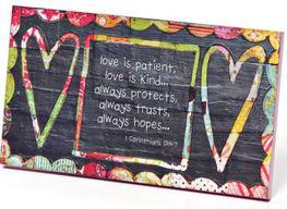 "#D13041 - 10.5""W PLAQUE-LOVE IS PATIENT COLORFUL DEVOTIONS  -  24/CASE"