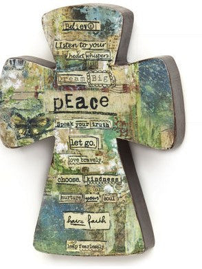 #D13896 - 9.5'H PEACE COLLAGE CROSS  -  24/CASE