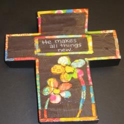 "#D14455 - HE MAKES ALL THINGS NEW CROSS COLORFUL DEVOTIONS 9.25""H  -  12/CASE"