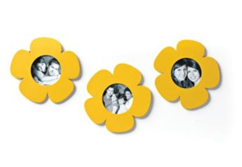 #D17492 - S/3 YELLOW FLOWER PHOTO MAGNET  -  33/CASE
