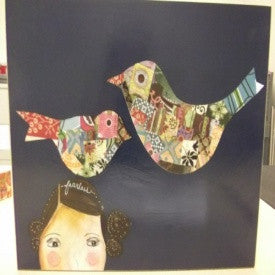 "#D17776 - 14X11""BOXY ART-GIRL W/BIRDS  -  12/CASE"