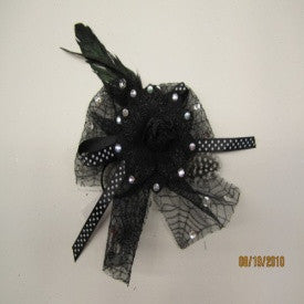 #D20112384 - BLACK FLOWERED JEWELED BROOCH  -  80/CASE