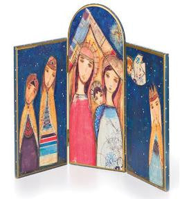 #D20120426 - NATIVITY HINGED TRYPTIC TABLE ART  -  6/CASE