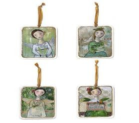 "#D20130400 - SET/4 5.5""ANGEL LAYRD ART BRD ORNAMENTS KELLY RAE ROBERTS  -  96/CASE"