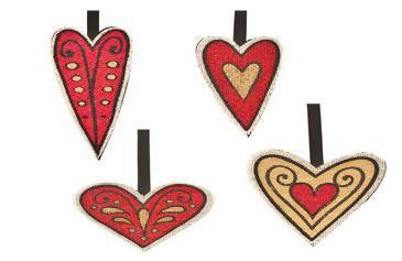 "#D20130523 - S/4 7"" JUTE HEART CHARMS  -  96/CASE"