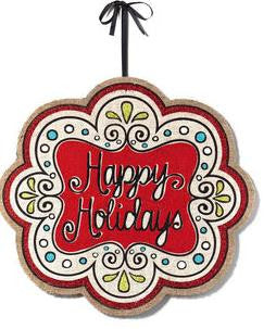 "#D20130903 - 20""HAPPY HOLIDAYS WALL DECOR JUTE  -  24/CASE"