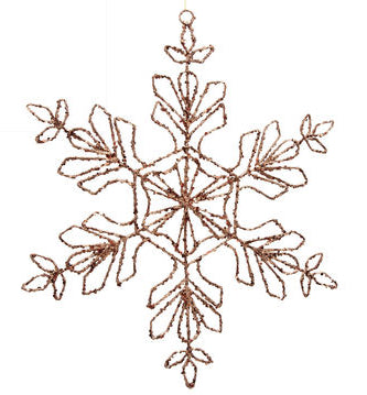 "#D20130964 - 17.5""GLITTERED COPPER SNOWFLAK ORNAMENT  -  20/CASE"