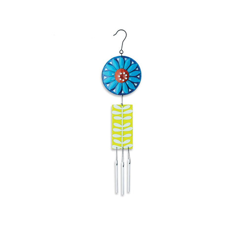 "#D20131219 - 14""H BLUE FLOWER WIND CHIME  -  48/CASE"