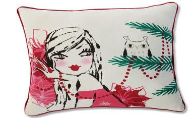 "#D2020140802 - 12""SQ. GIRL AND OWL PILLOW  -  16/CASE"