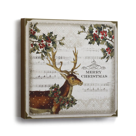 "#D2020160173 - 10""SQ.DEER WITH HOLLY WALL ART  -  12/CASE"