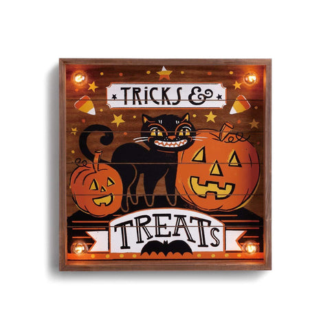 "#D2020170081 - 14""SQ,LITE UPT TRICKS & TREATS WALL ART  -  6/CASE"