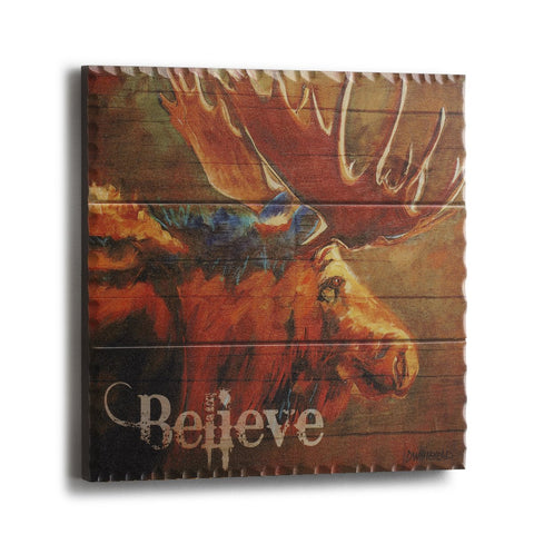 "#D3005050743 - 8""SQ. MOOSE BELIEVE PLAQUE  -  12/CASE"