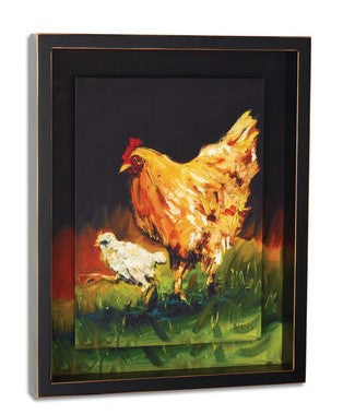 #D3005210447 - HEN AND CHICK 11.5X14.5 SHADOW BOX WALL ART  -  6/CASE