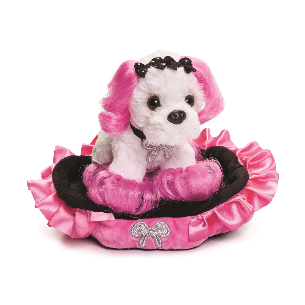 "#D5004730247 - 7""PLUSH DOG & BED SET-PRINCESS OF BEVERLY HILLS  -  12/CASE"