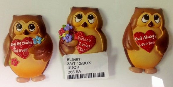 "#EL6467 - 2.25"" OWL LOVE MAGNETS 3AT  -  288/CASE"