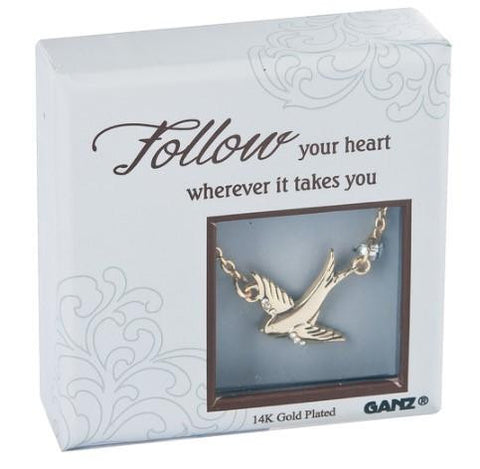 #ER32468 - 14K PLATED CHARM NECKLACE-BIRD FOLLOW YOUR HEART  -  144/CASE