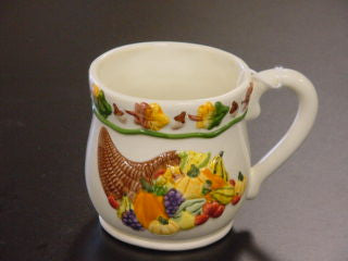 #L37004 - FALL HARVEST HAND/PAINTED MUG  -  48/CASE