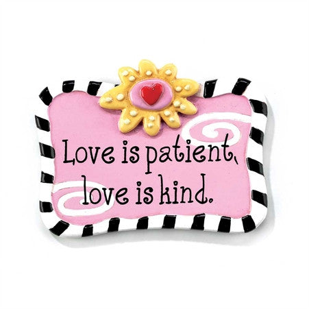 "#MA-558 - 2""PINK MAGNET-LOVE IS PATIENT  -  144/CASE"