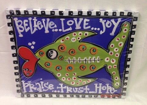 "#ML12012 - 22X17""CANVAS-FISH-BELIEVE  -  2/CASE"