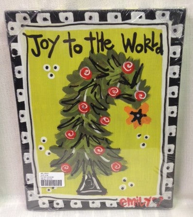 "#ML12020 - 9X12""CANVAS-TREE-JOY TO WORLD  -  4/CASE"