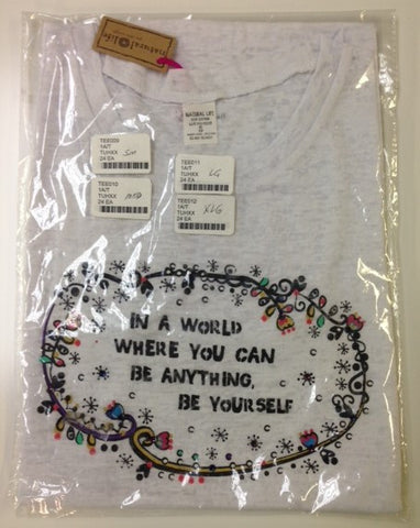 #TEE009 - SM.TEE SHIRT WHITE-BE YOURSELF  -  24/CASE